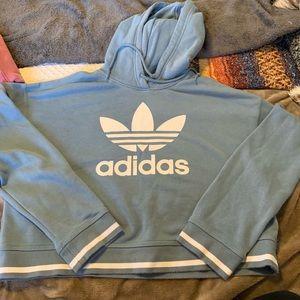 Blue adidas cropped hoodie